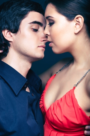 Vertical image of amorous young people captured a moment before kiss Stock Photo - 17257559