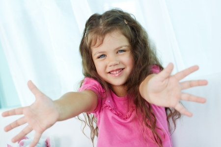 Palms of lovely girl having fun Stock Photo - 17340543