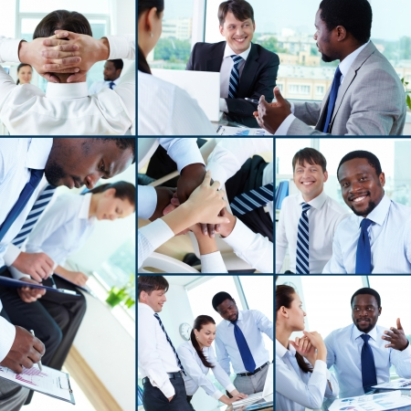 Collection of images of businesspeople at work in office photo