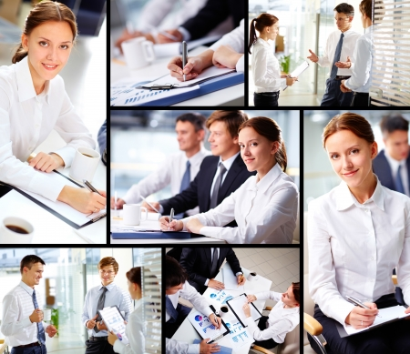 Collage of business people working in office  photo