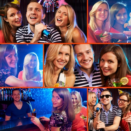 festive occasions: Collage of happy friends cheering up at party  Stock Photo
