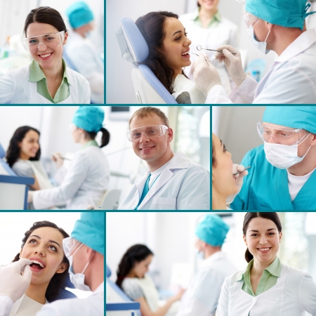 Collection of images of dentists at work photo