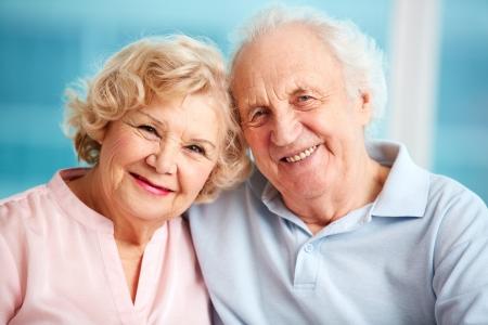 Portrait of charming seniors enjoying spending time together Stock Photo
