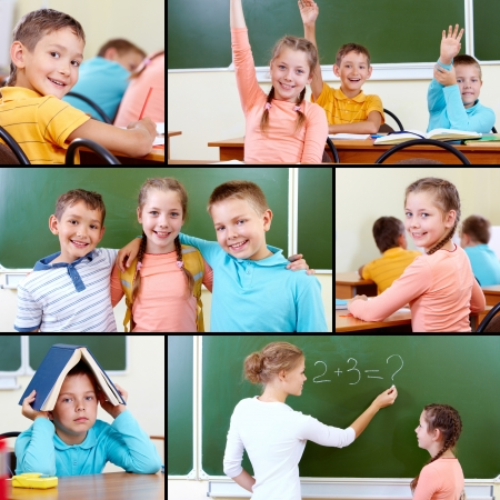 Collage of cute schoolchildren and teacher in classroom photo