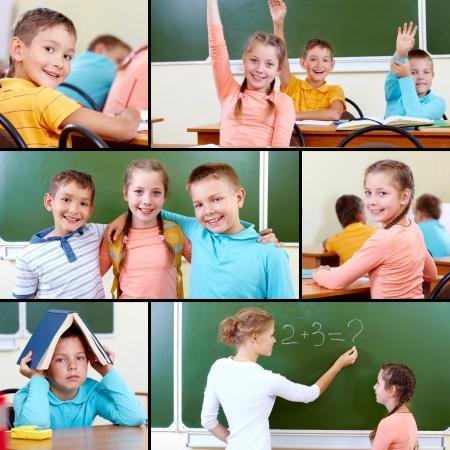 Collage of cute schoolchildren and teacher in classroom photo