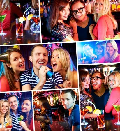 karaoke bar: Portrait of happy people singing in microphone in the karaoke bar