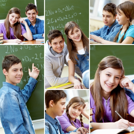 highschool student: Collage of happy guy and girl studying in school