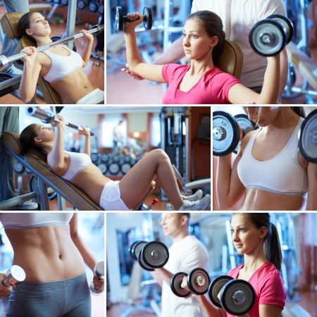sweating: Portrait of sporty female doing physical exercise in gym Stock Photo