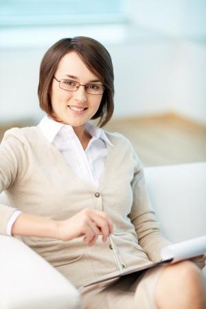 psychiatrist: Vertical portrait of a successful psychologist or a businesswoman