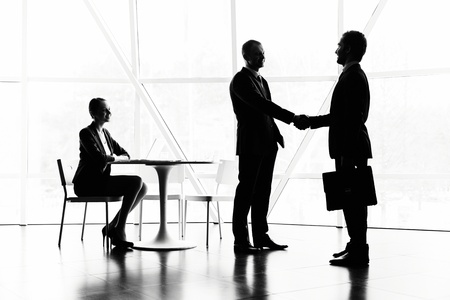 trust people: Pretty secretary looking at two businessmen handshaking at meeting Stock Photo