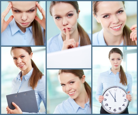 Collage of successful young businesswoman photo