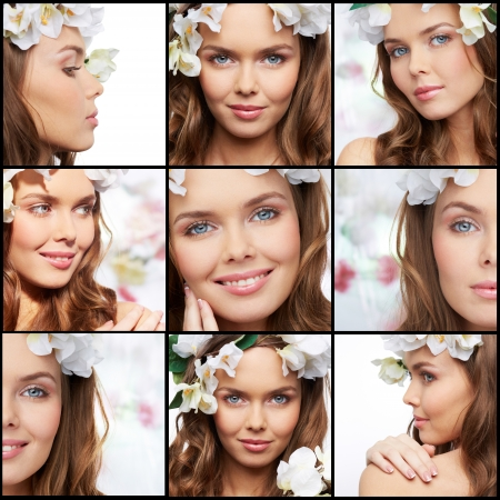 Collage of a perfect woman with magnificent blue eyes photo