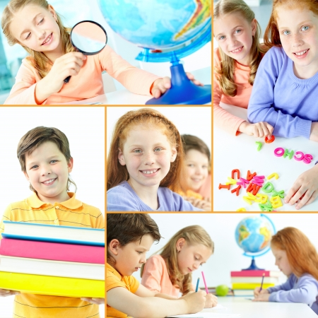 Collage of schoolkids during studies in school photo