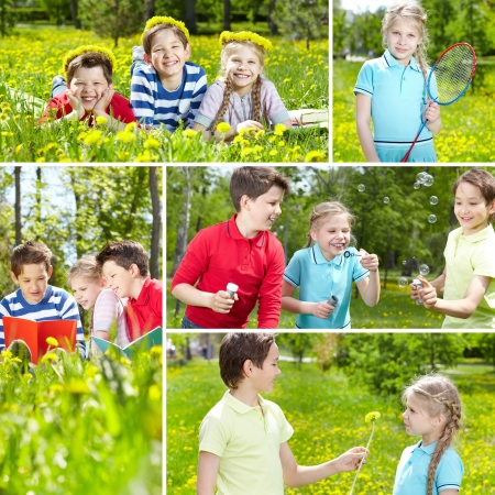Collage of friends spending time outdoor in summer  Stock Photo - 18327227