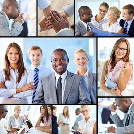 people interacting: Collage of confident employees at work Stock Photo
