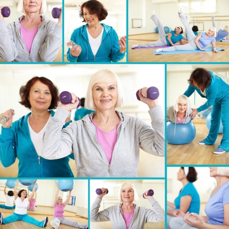 altogether: Collage of sporty females doing physical exercises in sport gym  Stock Photo