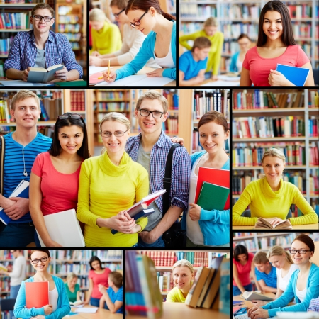 Collage of friendly students in college library Stock Photo - 18327223