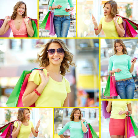 shopaholism: Collage of a shopping girl with paper bags Stock Photo