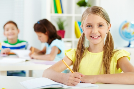 child studying: Portrait of lovely girl looking at camera at workplace with schoolmates on background