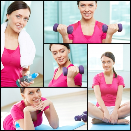 Collage of pretty girl in gym photo