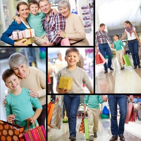 ni�os de compras: Collage de las compras de la familia feliz Foto de archivo
