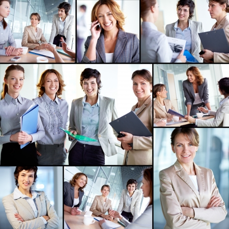Collage of successful businesswomen at work photo