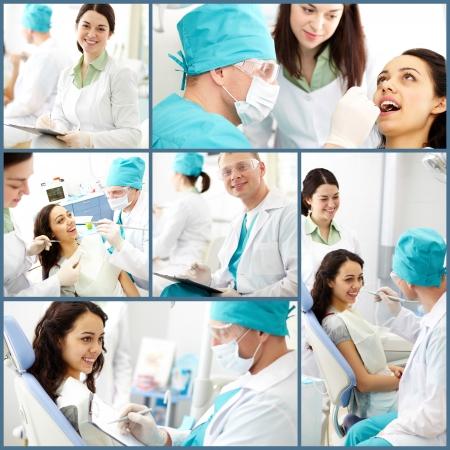 dentista: Collage de dentista masculino y su ayudante en el trabajo