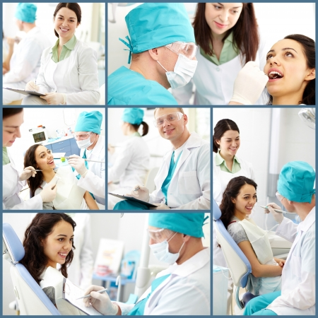 Collage of male dentist and his assistant at work photo
