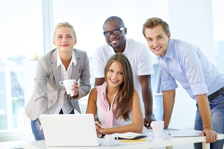 people communicating: Friendly young people working as a business team