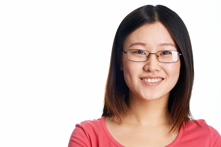 head shot: Close-up portrait of a pretty Asian girl wearing glasses
