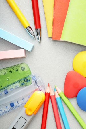 Close-up of various objects needed in school education process photo