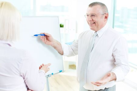 Image of mature businessman teaching his partner on whiteboard at meeting Stock Photo - 19146570