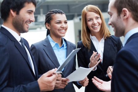 Image of business partners interacting at meeting Stock Photo - 19170160