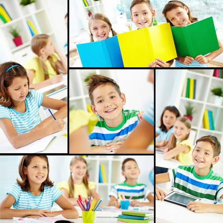 primary school: Collage of happy classmates at lessons