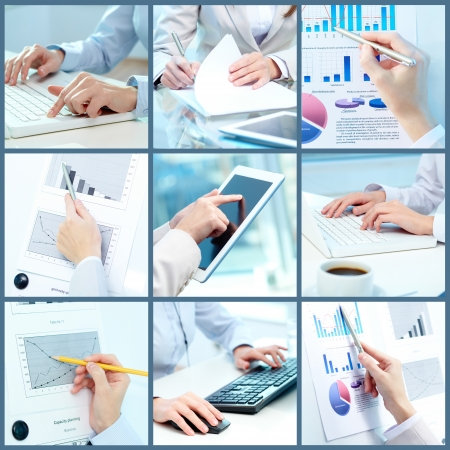 Collage of businesswoman hands working with touchpad and papers in office photo