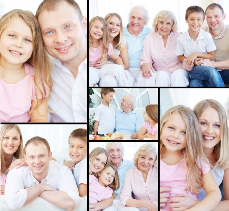 Collage of senior and young couples with their children looking at camera at home photo