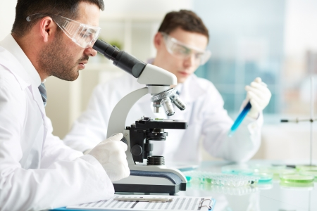 medical study: Serious clinicians studying chemical elements in laboratory
