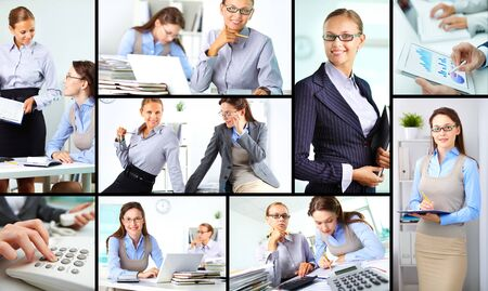 Collage of happy female colleagues working in office photo