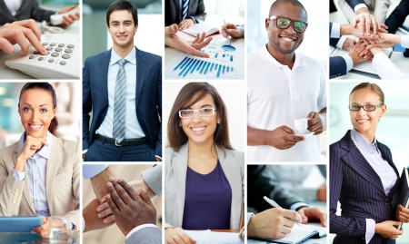 young office workers: Collage of smart businesspeople at work and hands of companions