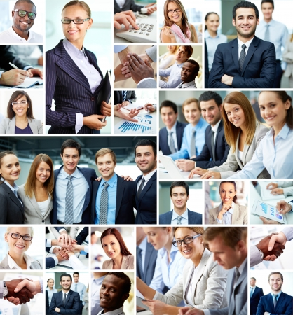 and leader: Collage of smart businesspeople and hands of co-workers