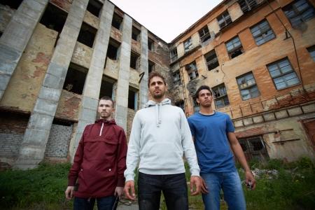 insurrection: Portrait of dangerous guys on the street Stock Photo