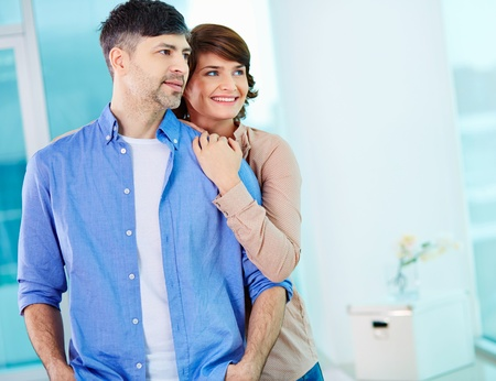 mid age: Portrait of middle aged couple looking forward Stock Photo