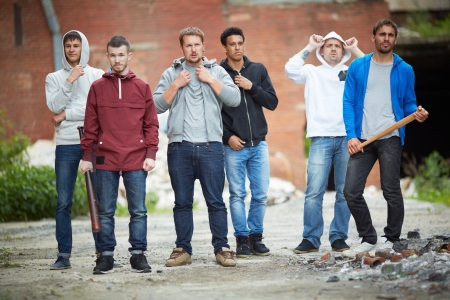 insurrection: Portrait of spiteful guys on the street