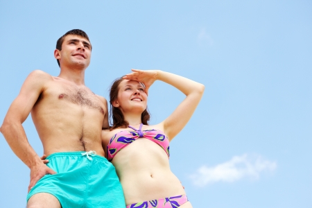 Peaceful couple enjoying summer vacation photo