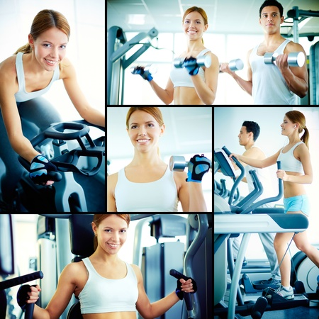fitness girl: Collage of pretty girl and young guy training on sport facilities in gym