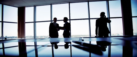 advising: Business people spending a usual busy day in office, only silhouettes being recognizable Stock Photo