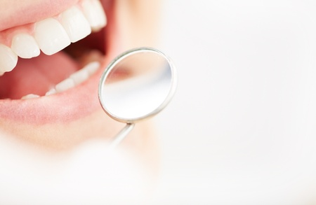 Close-up of open mouth during oral checkup at the dentist's Stock Photo