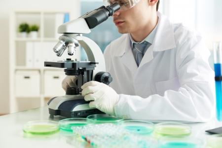 scrutinize: Serious clinician looking into microscope in laboratory Stock Photo