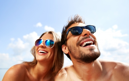 Relaxed young dates having fun on summer day