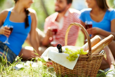 country park: Basket with bottle, grapes and baguettes on background of group of friends